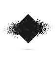 cube destruction squared black banner with space vector image vector image