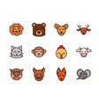 cute face animals cartoon icons set vector image