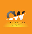 cw c w letter modern logo design with yellow vector image vector image