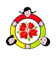 Family circle around the flower sign vector image