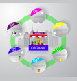 farm market fruit shop infographic vector image vector image