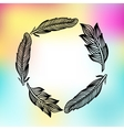 Feathers frame with colorfull print vector image