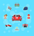 flat car racing icons infographic concept vector image vector image