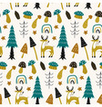 forest seamless pattern with cute animals deer vector image
