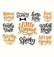 halloween party lettering set vector image