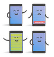 happy cartoon smart phone character set great for vector image