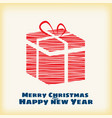 happy christmas and new year box gift stylized vector image vector image