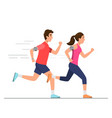 happy man and woman running on way vector image