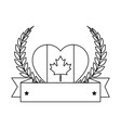 heart with canadian flag emblem icon vector image vector image