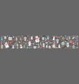 horizontal banner christmas characters on grey vector image vector image