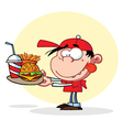 Hungry Boy Staring At Plate Of Fast Food vector image
