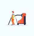 male street janitor holding industrial vacuum vector image