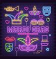 mardi gras neon icons vector image vector image
