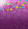 Multicolored bright buntings garlands with vector image