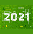 new year 2021 as technical blueprint drawing vector image vector image