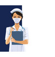 nurse in white medical face mask vector image