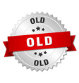 old 3d silver badge with red ribbon vector image vector image