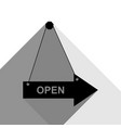 open sign black icon with vector image vector image