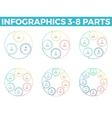 Outline infographics with 3 - 8 steps circles vector image vector image
