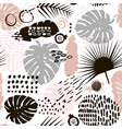 palm branch trendy seamless pattern with hand vector image vector image