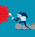 people fighting with coronavirus spray vector image
