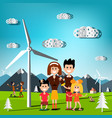 people on field with windmills and mountains on vector image vector image