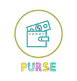 purse in linear outline style vector image