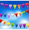 Rainbow Bunting Banner Garland With Blue Sky vector image