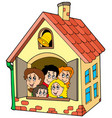 school building with kids vector image