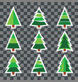 set christmas tree sticker on transparent vector image