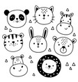 set cute funny animals heads vector image vector image