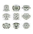 set isolated vintage soccer club signs vector image