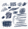 set of hand drawn ink pen scribbles vector image vector image