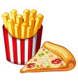 Slice of pizza and bag of frenchfries
