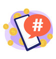smartphone with hashtag bringing money successful vector image