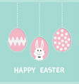 three painting egg shell rabbit hare with tie bow vector image