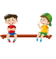 two boys sitting on bench vector image vector image