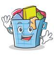 waving laundry basket character cartoon vector image vector image