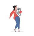 woman holding koala save koalas from fires pray vector image