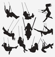 woman swing silhouettes vector image vector image