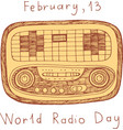 world radio day poster doodle scribble cartoon vector image vector image