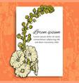 floral postcard template on orange vector image