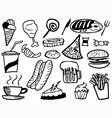 doodle junk food background vector image