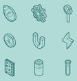 physics color outline isomeric icons vector image