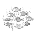 Adult coloring book page design with fish vector image