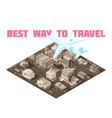 air travel isometric poster vector image vector image
