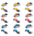 american trucks isometric low poly icon set vector image
