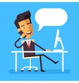Asian businessman sitting at the desk with phone vector image vector image