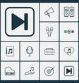 audio icons set with audio buttons microphone vector image