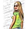 beautiful blondie woman with sunglasses - fashion vector image vector image